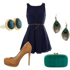 I know this is an outfit, and I love the dress and shoes, however I'm pinning this as a possible color scheme for logo. Navy, teal & yellow