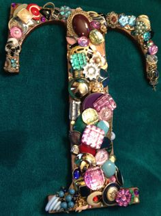 JEWELED LETTER T by TimelessTreasures4u on Etsy, $25.00