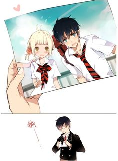 [Ao no Exorcist] I ship Rin x Shiemi, but Yukio is also pretty cute here lol.