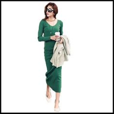 Hot sale Ladies Elegant winter dress 2016 new fashion Sexy slim long sleeve Mid-calf Women clothing