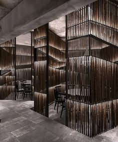 yiduan shanghai interior design sets up a restaurant from bamboo boxes