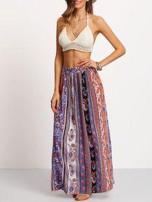 Falda tribal split maxi -multicolor