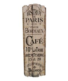 Take a look at this 'Paris Café' Wall Art by A Whimsical Home: Décor on #zulily today!