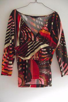 BCBG Maxazria Womens Ladies Size Medium Multi Color Top Blouse Brown USA Made Pi #BCBGMAXAZRIA #Blouse #Career