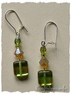 Jewelry and Bead Craft - Green Beaded Earrings