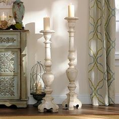 Antique White Floor Candle Holder, 36 in. | Kirkland's