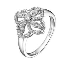 This brilliant 18K White Gold diamond ring, features round white diamonds weighing total 0.41 carats total. On Sale: $890