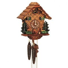 Made in the Black Forest region of Germany this cuckoo clock features a deer and rabbit eating a mushroom Intricate details hand-carved and hand-painted and made from real Black Forest linden wood. 9 inch, 1-day movement. $372.60