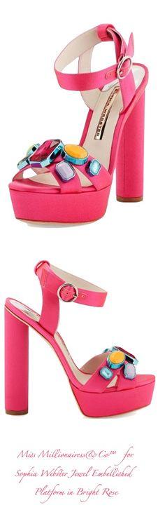 Sophia Webster 'Amanda' Jewel Embellished Platform in Bright Rose