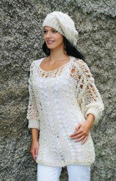 Díratý svetr s baretem – PLETENÍ – NÁVODY 73252a57bb