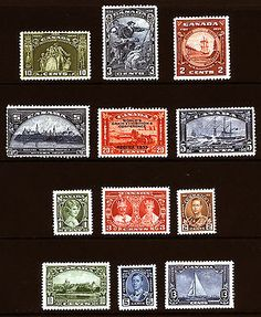 Canada #202-#211 1933-34 XF Mint Fresh Lot 12 items