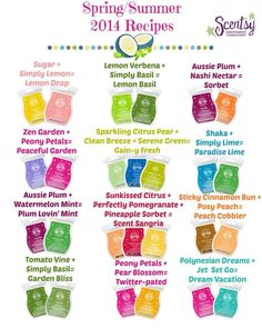 Try out all the new Spring/Summer 2014 scents, then mix it up with these scent recipes! For more information go to https://jessalefebvre.scentsy.ca/