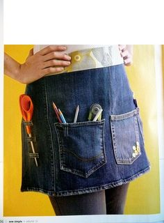 Recycle jeans to make an apron! Ave and I need this I am always looking for my scissors or the marking pencil