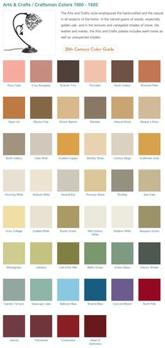 #Craftsman Style Home, Arts & Crafts era inspired #historical paint palette from California Paints.  Paint colors for Historical homes.
