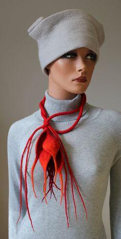 "felted flower necklace ""Z-irnis"". Doseth, via Etsy."