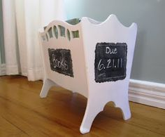 See Rebecca Sew: Other Crafts: Library Book Box with Chalkboard Due Date....Oooh, I must be on the lookout for an old magazine rack! I love this idea to hold all her books.