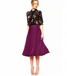 @Who What Wear - ASOS Pleated Midi Skirt ($67) in Berry  ASOS' swingy skirt in a gorgeously rich berry is sure to reach staple status in your wardrobe.