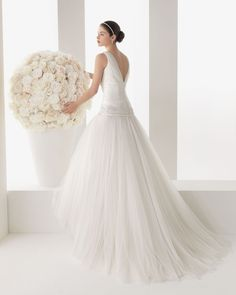 108 MAGALI   Wedding Dresses   2014 Two Collection   Rosa Clara   Shown with thin Bow Belt at Empire waist & Hip (back)