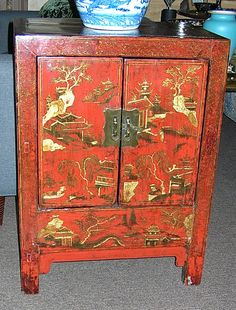 Pair of Antique Red 17th C. Chinese Cabinets with Hand-Painted Chinoiserie Finish