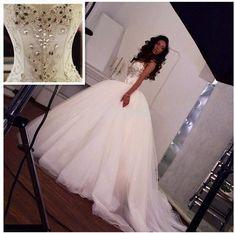 02119095ccfd Prinsesse Krystal Ball Kjole Lace Up Bryllupskjole Sweetheart Korset Bodice  Perler Hvid Tulle Court Tog Brude