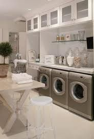 Laundry room- My family is so big that I feel like I spend most of my time washing. This laundry room is so relaxing and spacious. Definitely my dream laundry room. Laundry Room Design, Laundry In Bathroom, Small Laundry, Basement Laundry, Laundry Area, Laundry Closet, Laundry Center, Laundry Table, Laundry Decor