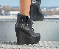 Black Genuine Leather shoes/Genuine Leather wedges/Sexy