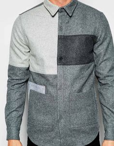 Image 3 ofHAN Public Shirt With Patch Pockets And Colour Block