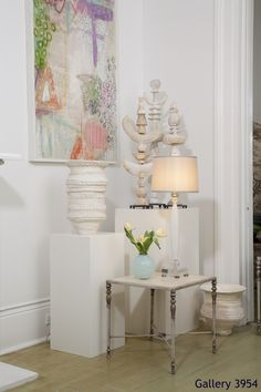 Julie Silvers paintings and ceraminc, with a Fifi Laughlin lamp