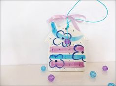 Violet and turquoise ceramic little house by IoannasVeryCHic,
