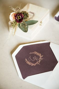 Envelope Plum Purple Violet Stationery Gold Calligraphy Invites Inviations Trendy Beautiful French Elopement Wedding Ideas http://oliviamarocco.com/ #wedding #envelope #violet #gold #plum #stationery
