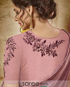Mauve Embroidered Blouse Hand Embroidery Dress, Kurti Embroidery Design, Embroidery Fashion, Embroidered Blouse, Silk Saree Blouse Designs, Fancy Blouse Designs, Bridal Blouse Designs, Maggam Work Designs, Hand Work Blouse Design