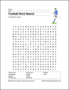 Football Word Search, Vocabulary, Crossword Puzzle and More: Football Word Search