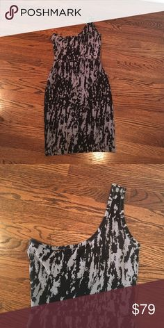 BCBG Black/Grey Bodycon dress -size Small Small, BCBG Black/Grey Bodycon dress with one shoulder. Great for a wedding or cocktail party or Vegas! Only worn once! BCBG Dresses One Shoulder