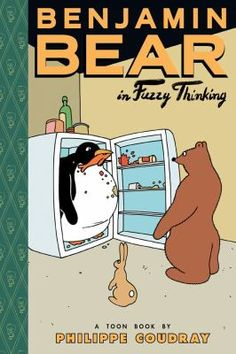 Benjamin Bear in Fuzzy Thinking by Philippe Coudray.  Although he is a very serious bear, Benjamin Bear has a funny way of doing things, like drying dishes on a rabbit's back or sharing his sweater without taking it off.