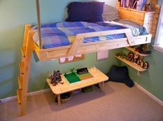 Designed to increase the useable floorspace in a tiny bedroom. Built-in shelving, storage, and a reading lamp enhance the design. Lights under the bed create a fun play area.