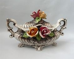 Vintage Capodimonte Italy Covered Footed Soup Tureen Bowl Roses Flowered Display | eBay