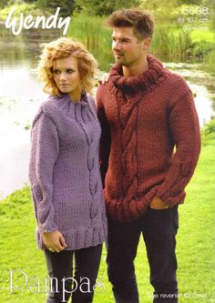 KNITTING PATTERN WENDY 5698 UNISEX CABLE SWEATER JUMPER AND COWL £2.60