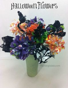 Dollar Store Halloween Flowers | @PluckingDaisy #HalloweenDIY #Tutorial