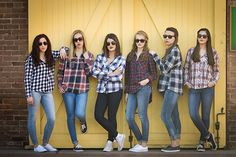 Flannel shirts.  Group portraits. Group photos  Sorority pictures. College photos.  Urban portraits. Best friends.  Roommates.  True joy.  Joyful Gestures Photography.