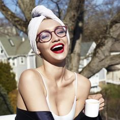 "3,897 Likes, 21 Comments - Vogue Eyewear (@vogueeyewear) on Instagram: ""Mornings always go better with coffee and a huge smile from @GigiHadid. #ShowYourVogue…"""