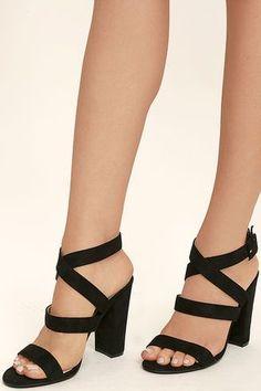 224040c10b93 Regina Black Suede High Heel Sandals. Ankle Strap ...