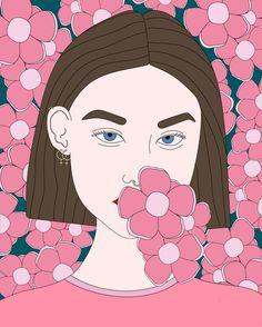 THE GIRLS series - izabela kacprzak #illustration #graphicdesign #girlpower #girl #flowers #pink #girls #strong #izabelaka #female #blueeyes #piercing #feminist