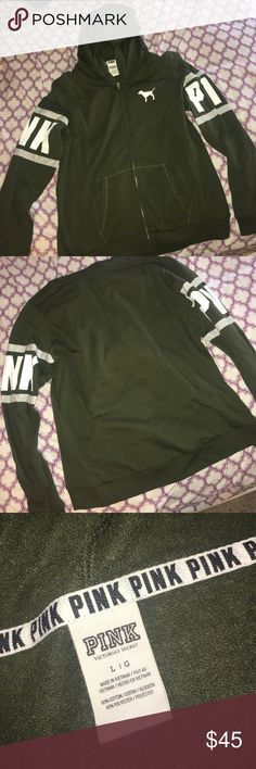 PINK Zip Up Sweatshirt Olive green PINK zip up. Worn maybe twice so in perfect condition. PINK Victoria's Secret Sweaters