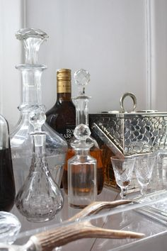 Gorgeous decanters on the bar