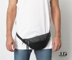 Black leather hip bag SALE crossbody bag  waist bag  by JUDtlv