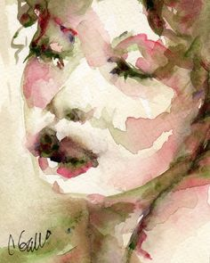 Giclee Print of a Watercolor Painting Womans Face by CGallaFineArt,