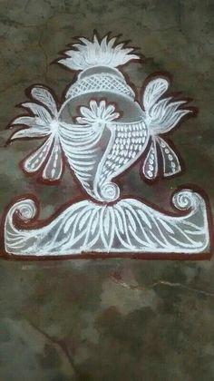Rangoli Designs For Competition, Free Hand Rangoli Design, Rangoli Border Designs, Small Rangoli Design, Rangoli Designs Images, Beautiful Rangoli Designs, Rangoli Ideas, Rangoli Designs Diwali, Kolam Rangoli
