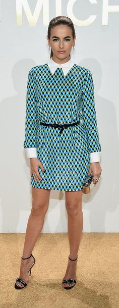Camilla Belle in a graphic printed dress