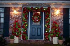 Christmas porch - deco mesh.