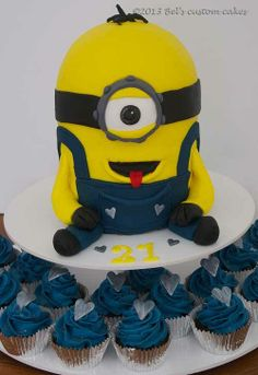 Minion Cake and Cupcakes by Bel's custom cakes, Forest Glen, Queensland, Australia. You'll find this Cake Appreciation Society Member in our Directory at www.cakeappreciationsociety.com
